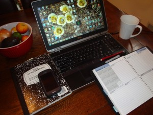 laptop and datebook